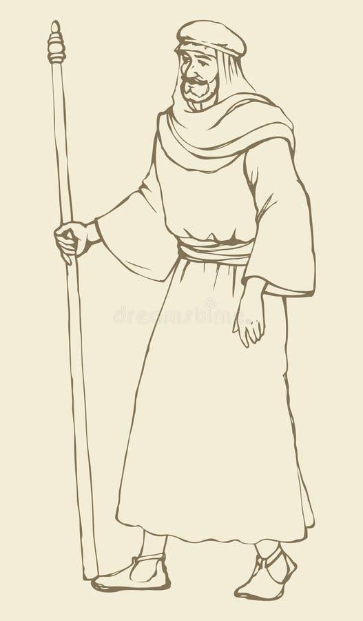 Ðœan в старых библейских одеждах с ручкой иллюстрация вектора