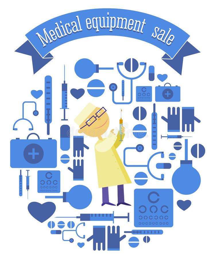 Ðœedical设备销售设置与注射器医生 库存例证