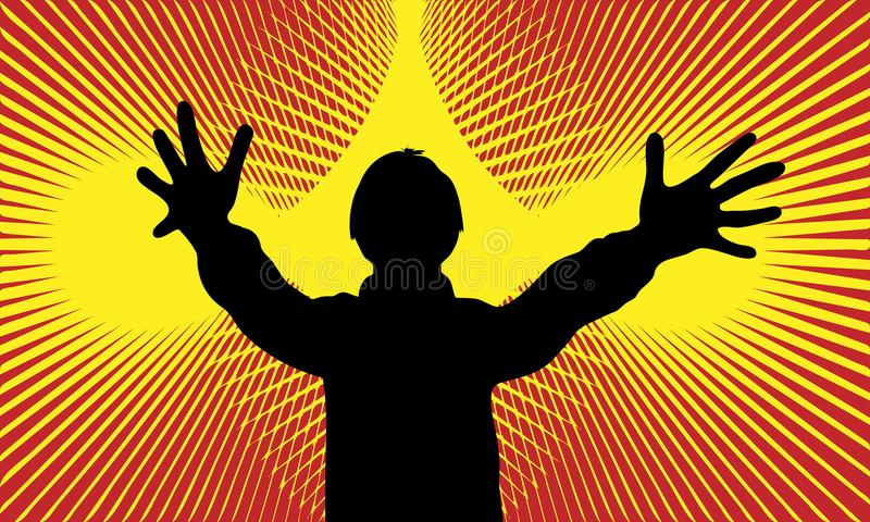 ÐžÑ  Ð ½ Ð ¾ Ð ² Ð ½ Ñ ‹Ðµ RGsilhouette, αγόρι με τις ανοικτές αγκάλες, διασκέδαση κατά τη διάρκεια του disco, που προειδοποιεί  απεικόνιση αποθεμάτων
