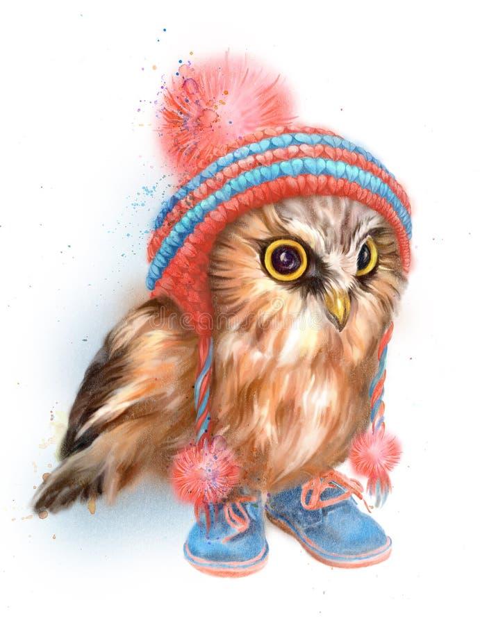 Оwl dans un chapeau rayé jaune photographie stock