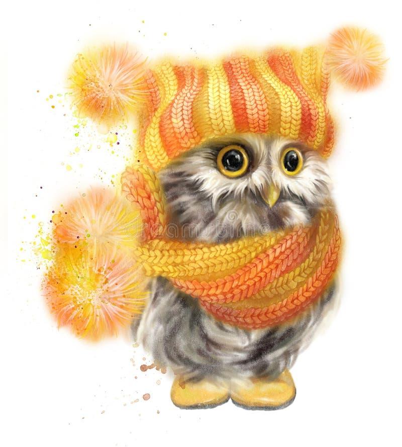 Оwl dans une écharpe et un chapeau jaunes photos libres de droits