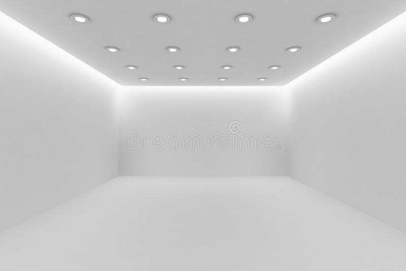 Ð•mpty άσπρο δωμάτιο με τους μικρούς στρογγυλούς ανώτατους λαμπτήρες διανυσματική απεικόνιση