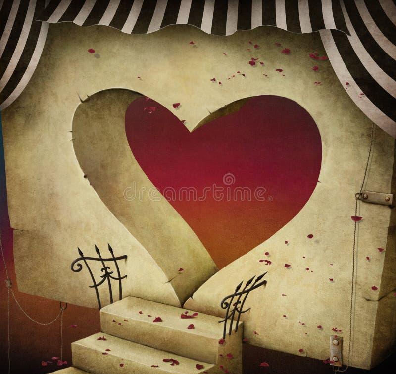 Ð•ntrance w formie serce royalty ilustracja