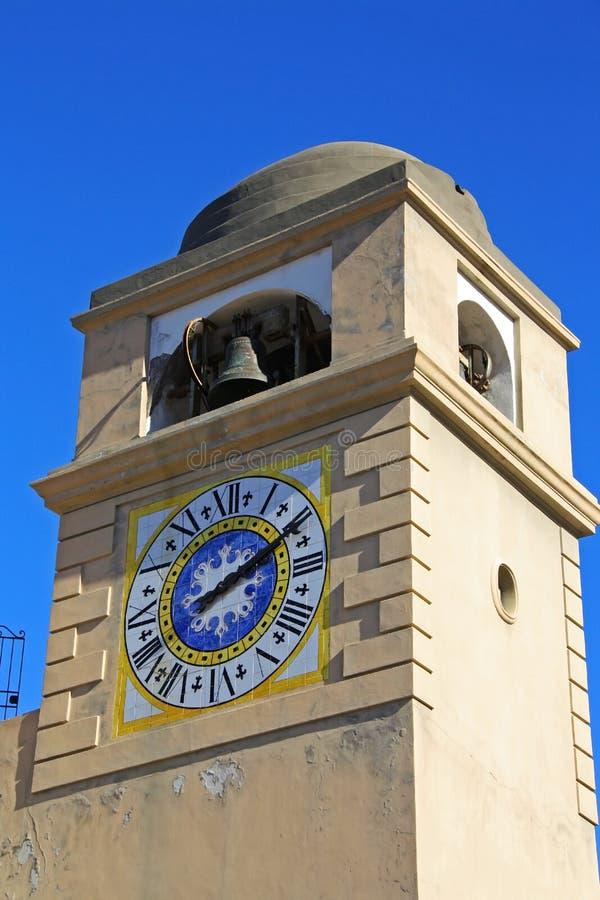 Ð•ower时钟,卡普里岛 免版税库存照片