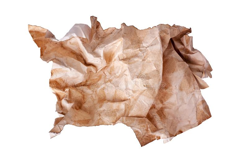Ð ¡起皱了在白色背景被隔绝的关闭的老包装纸球,起皱纹的肮脏的使用的纸片 免版税库存图片