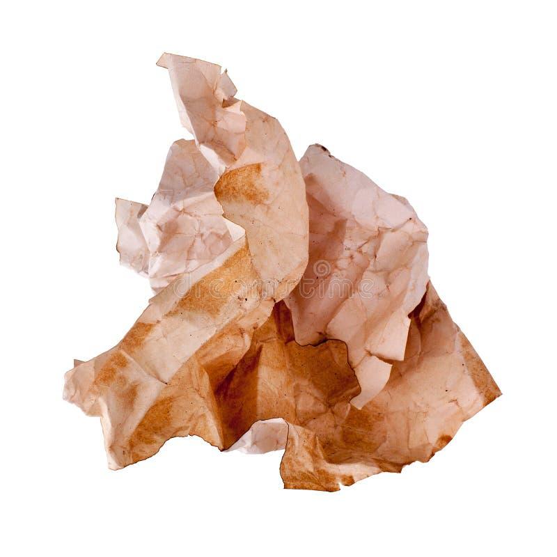 Ð ¡ η παλαιά σφαίρα καφετιού εγγράφου στο άσπρο υπόβαθρο που απομονώθηκε κοντά επάνω, ζαρωμένο βρώμικο χρησιμοποιημένο φύλλο του  στοκ φωτογραφίες