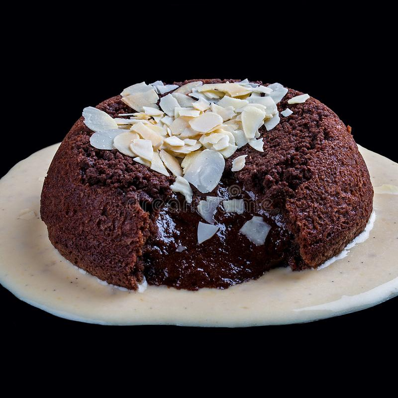 Ð-¡ ake med chokladlava royaltyfria foton