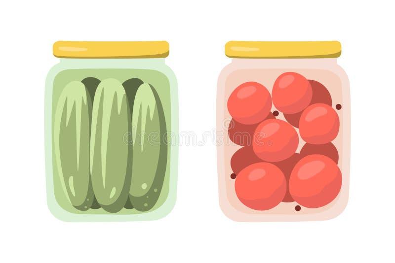 Ð ¡ anned Ingelegde tomaten en komkommers in banken Geïsoleerde voorwerpen in vlakke stijl Vector royalty-vrije illustratie