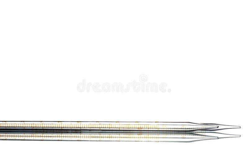 Ð ¡ apillary tubka, makro- zakończenie szczegół Odizolowywający na bielu obrazy stock