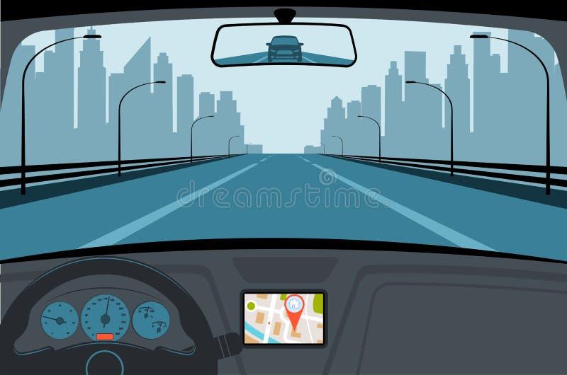 Ð-¡ ar på vägen, en sikt från salong royaltyfri illustrationer