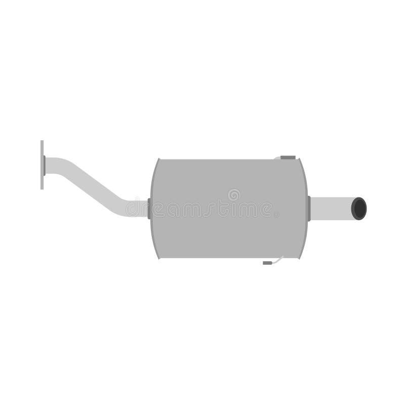 Ð-¡ AR-Schalldämpfergeschwindigkeitsenergievektor-Symbolikone Flache Ausrüstungsmaschine der Transportdoppeltstrahlrohrteile Fahr vektor abbildung