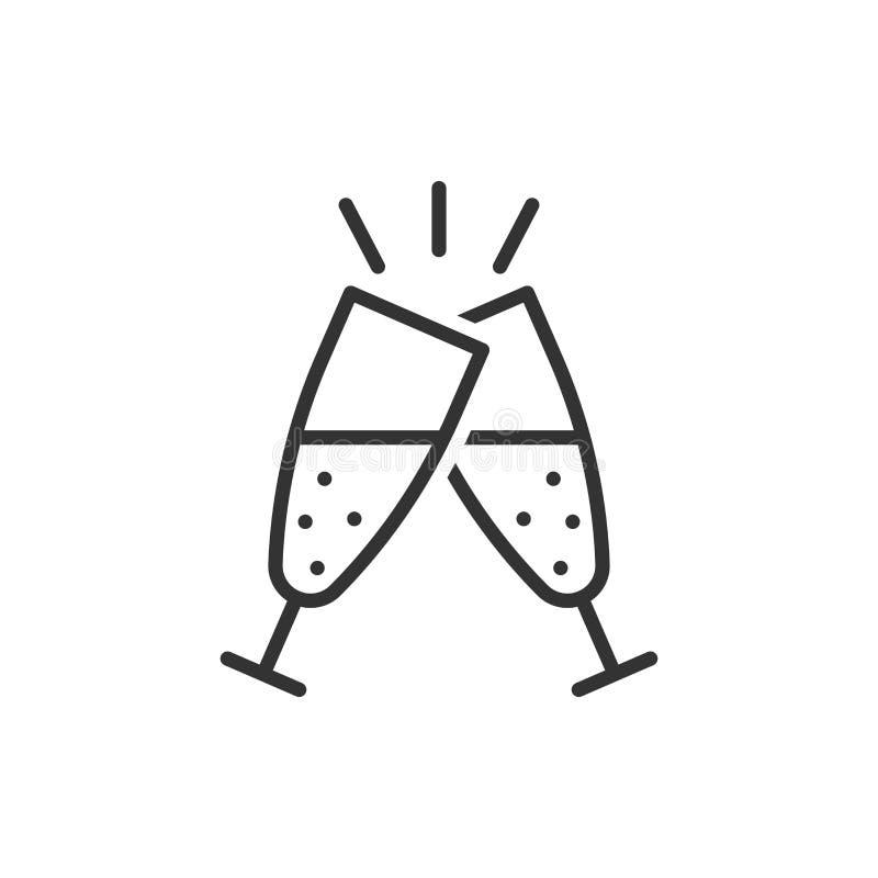 Ð ¡ hampagne glaspictogram in vlakke stijl De vectorillustratie van de alcoholdrank op wit ge?soleerde achtergrond Cocktail bedri royalty-vrije illustratie