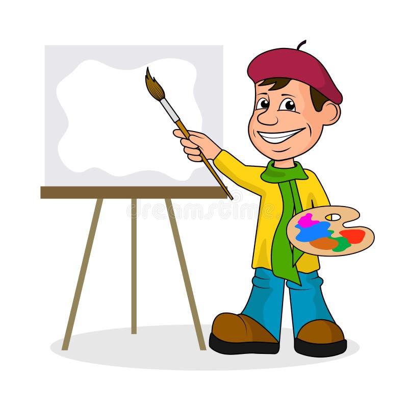 Ð ¡ heerful artysta z muśnięciem i farbami wektorowa ilustracja royalty ilustracja