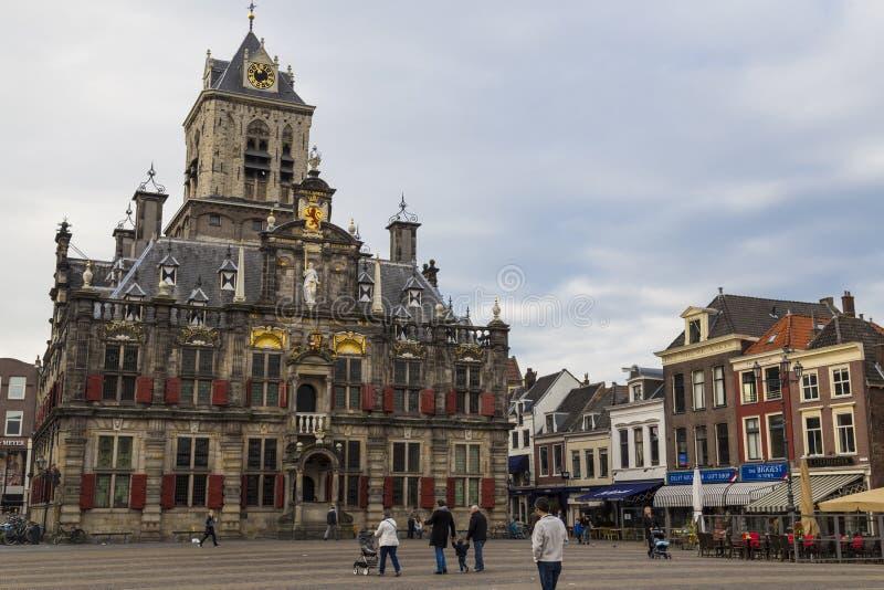 Ð ¡ ity德尔福特,荷兰 历史中心城市 Th的城镇厅 免版税库存图片