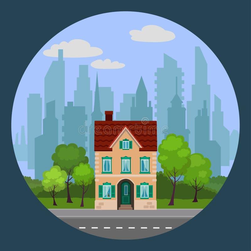Ð ¡ ityscape的唯一米黄房子 向量例证