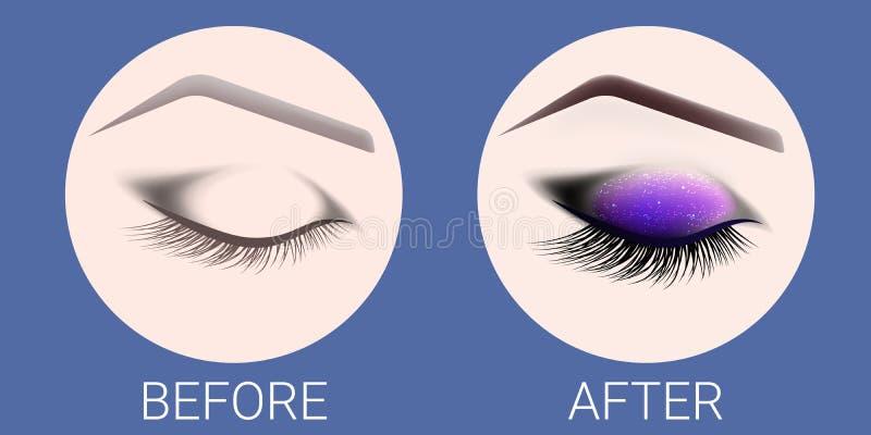 Ð-¡ losed det kvinnliga ögat före och efter ett smink och en design av ögonbryn Öga med långa ögonfrans Ögonfransförlängning och stock illustrationer