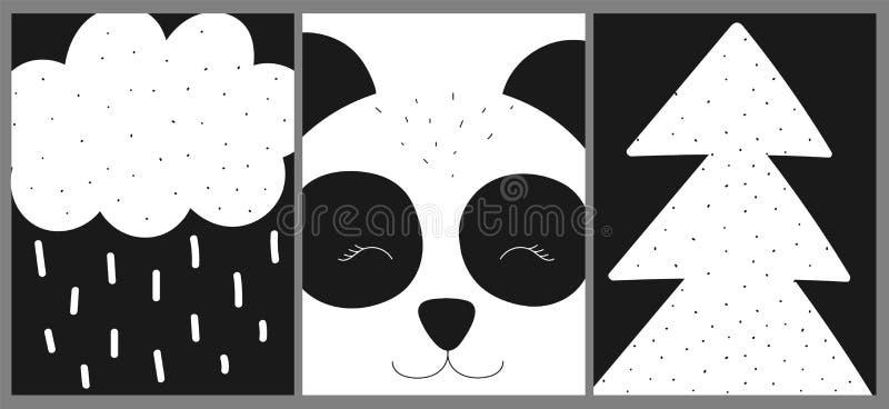Ð-¡ ollection av kort, baner, affischer för barn Svartvit hand-dragen scandinavian illustration för vektor med pandan, träd vektor illustrationer