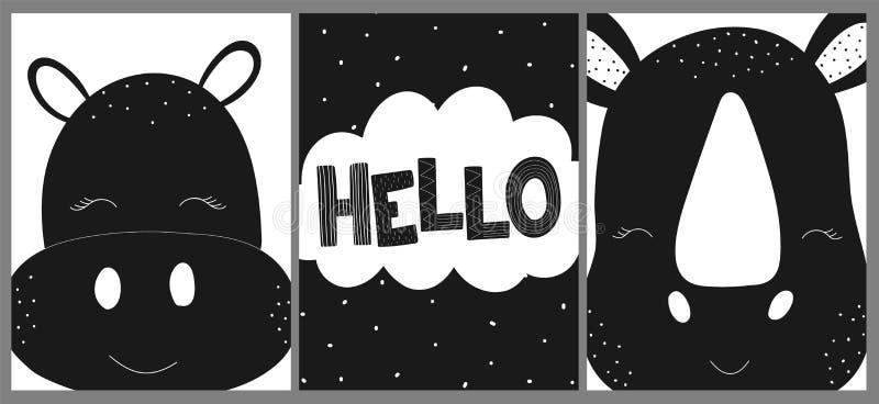 Ð ¡ ollection karty, sztandary, plakaty dla dzieci Wektorowa czarny i biały pociągany ręcznie scandinavian ilustracja hipopotam,  royalty ilustracja