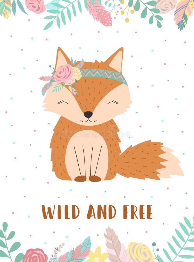 Ð-¡ ollection von Hand gezeichneten boho Fuchses mit den Wörtern wild und frei Illustration von Tupfen, von Blumen und von Federn stock abbildung