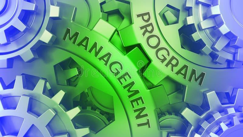 Ð-¡ oncept PROGRAMM-MANAGEMENT auf den Gängen Grüne und blaue Illustration Gang weel Hintergrundes 3d vektor abbildung