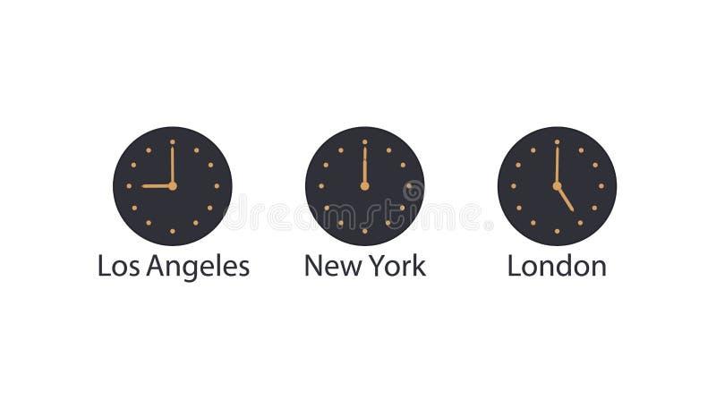 Ð ¡ oncept van wereldtijd en tijdzones De klok van de marinemuur met gouden handen en de wijzerplaat tonen tijd in Los Angeles, N royalty-vrije illustratie