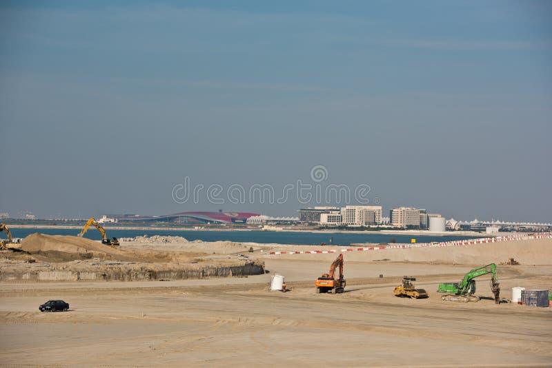 Ð ¡ onstructionplaats in Abu Dhabi, Verenigde Arabische Emiraten royalty-vrije stock afbeeldingen