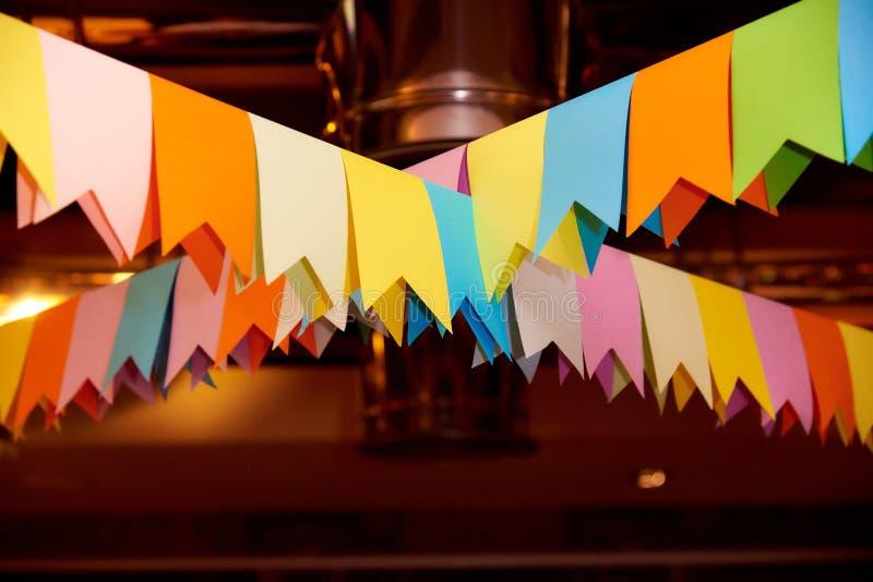 Ð ¡ przyjęcia olorful flagi robić papier w górę zdjęcie royalty free