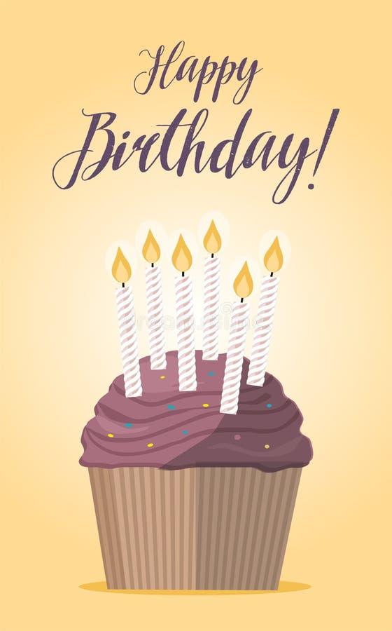 Ð ¡ upcake z świeczką na żółtego tła Urodzinowej karcie royalty ilustracja