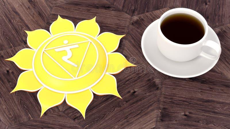 Ð-¡ upp av kaffe på en trätabell MorgonChakra meditation Illustration för Manipura symbol 3d royaltyfri bild