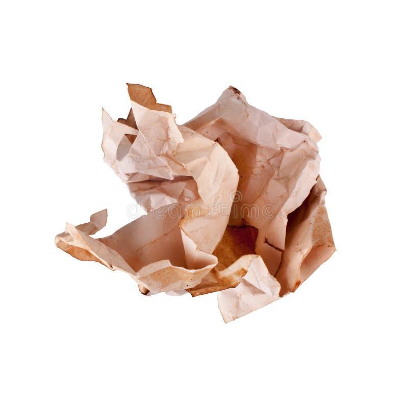 Ð ¡ verfomfaaide oude pakpapierbal op witte dicht omhoog geïsoleerde achtergrond, gerimpeld vuil gebruikt blad van document royalty-vrije stock afbeeldingen