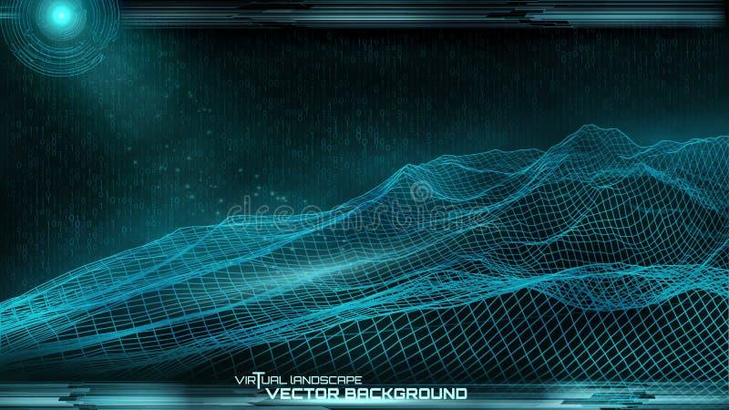 Ð-¡ yberspace Landschaftsmaschen-Vektorhintergrund vektor abbildung