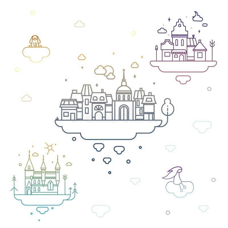 Ð ¡ †‹â€ ity ‹w chmurach ilustracji