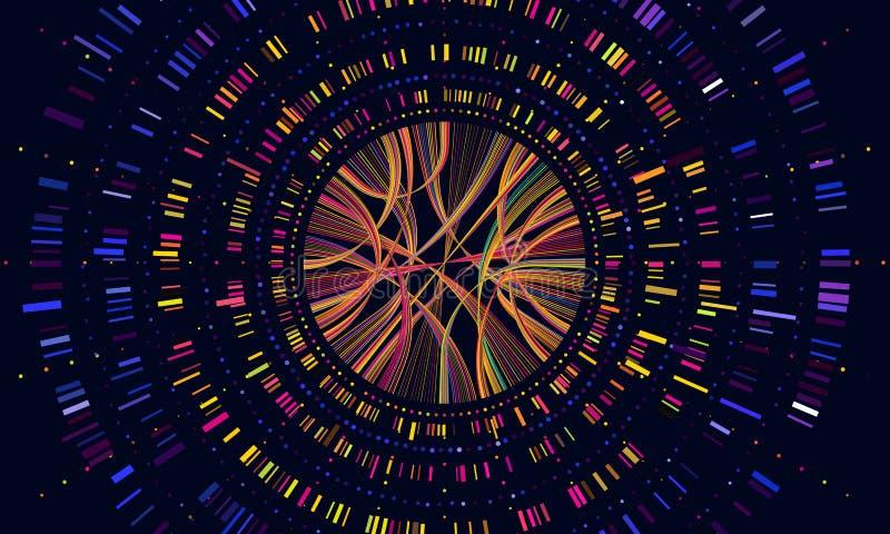Данные по генома Визуализирование штрихкода последовательности генетики, тест ДНК и генетическая медицинская sequencing концепция иллюстрация вектора