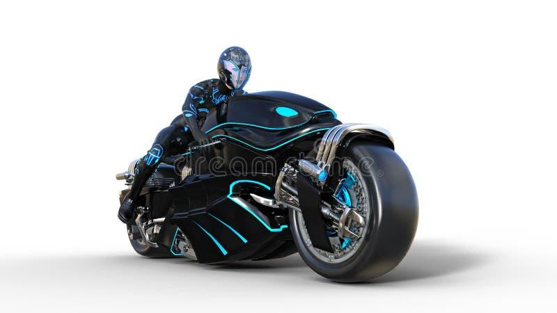 Девушка велосипедиста со шлемом ехать велосипед научной фантастики, черный футуристический мотоцикл изолированный на белой предпо иллюстрация вектора