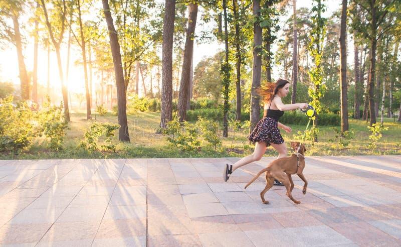 Девушка в ее бегах платья с собакой на езде вдоль переулка в парке на предпосылке захода солнца стоковое фото