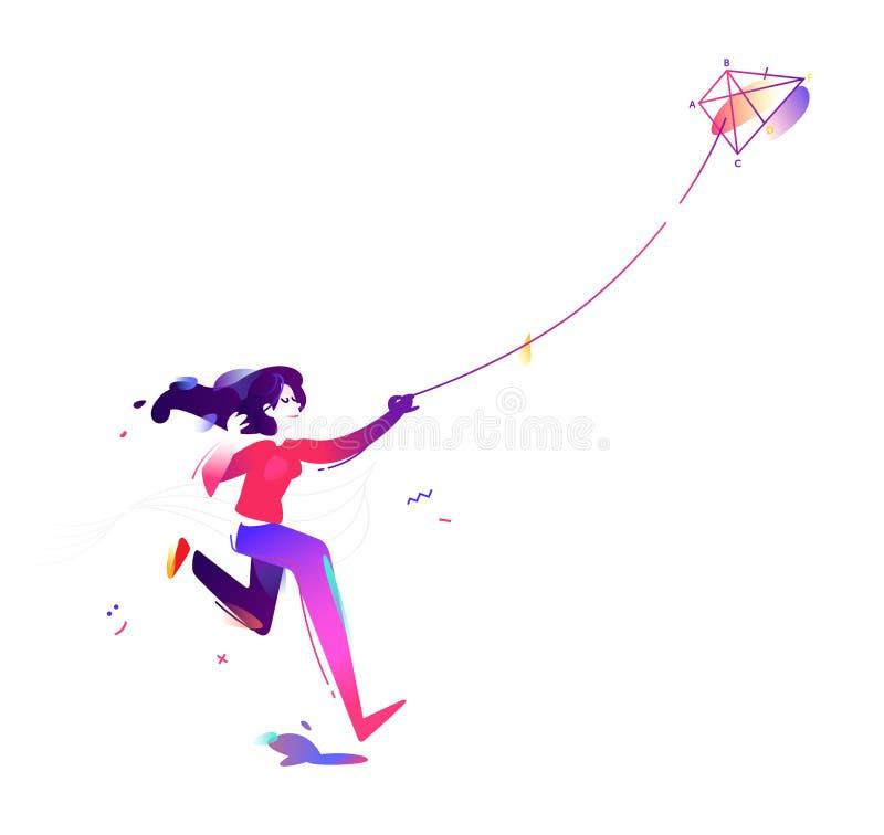Девушка запускает змея Начните новый проект, запуск Характер дамы дела Иллюстрация вектора в плоском стиле иллюстрация вектора