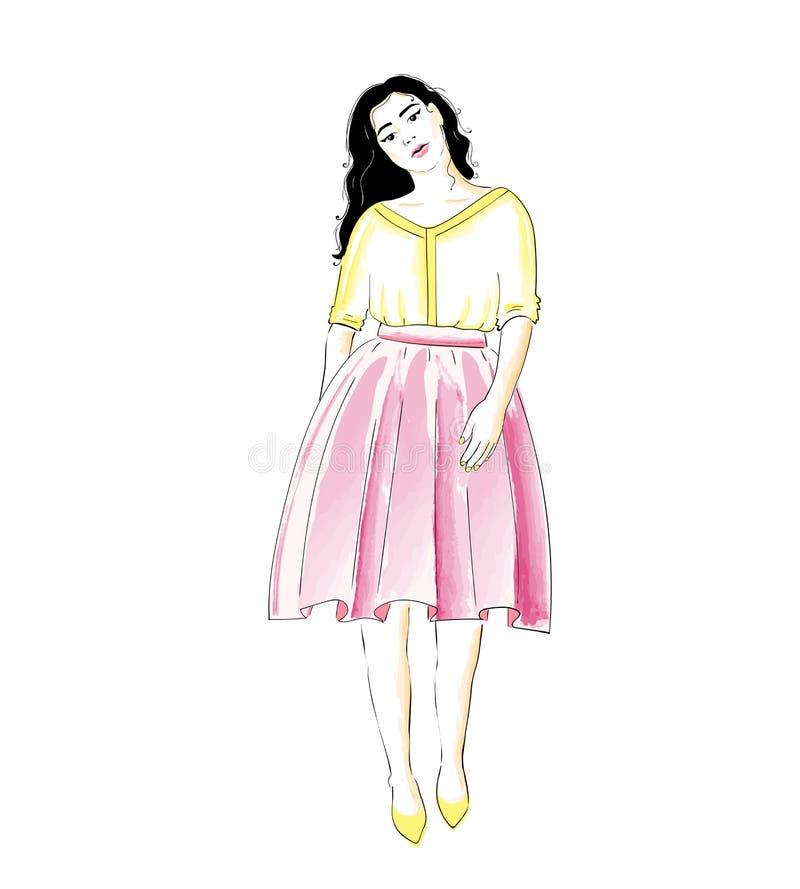 Девушка моды в юбке и блузке или платье Классический женственный шкаф стиля бесплатная иллюстрация