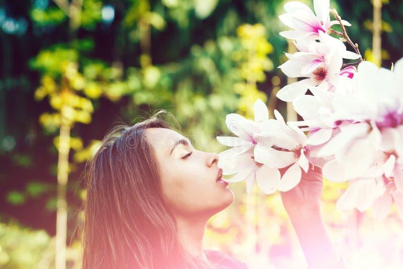 Девушка пахнуть розовый, цветущ, цветки магнолии от дерева стоковые фотографии rf