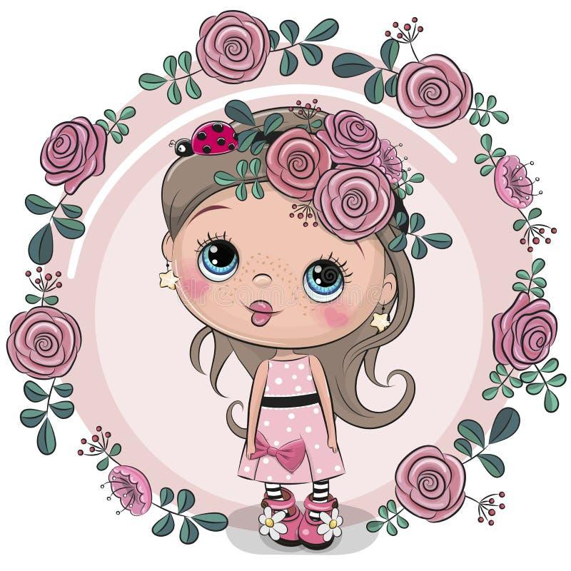 Девушка поздравительной открытки с цветками на розовой предпосылке бесплатная иллюстрация