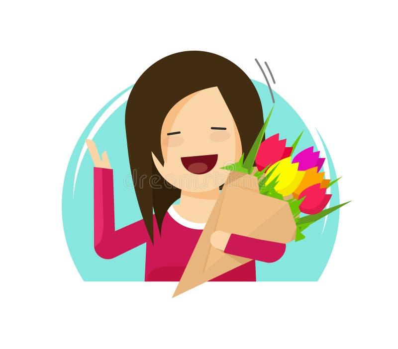 Девушка держа дизайн мультфильма иллюстрации вектора букета цветков плоский изолированная, счастливая усмехаясь женщина с clipart иллюстрация штока