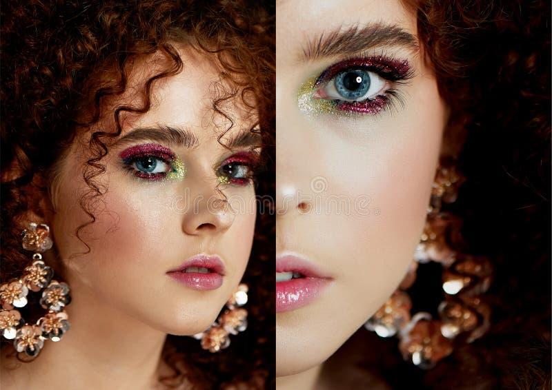 Девушка с сочными курчавыми красными волосами Близко к половине стороны с ярким макияжем и массивными серьгами стоковые фото