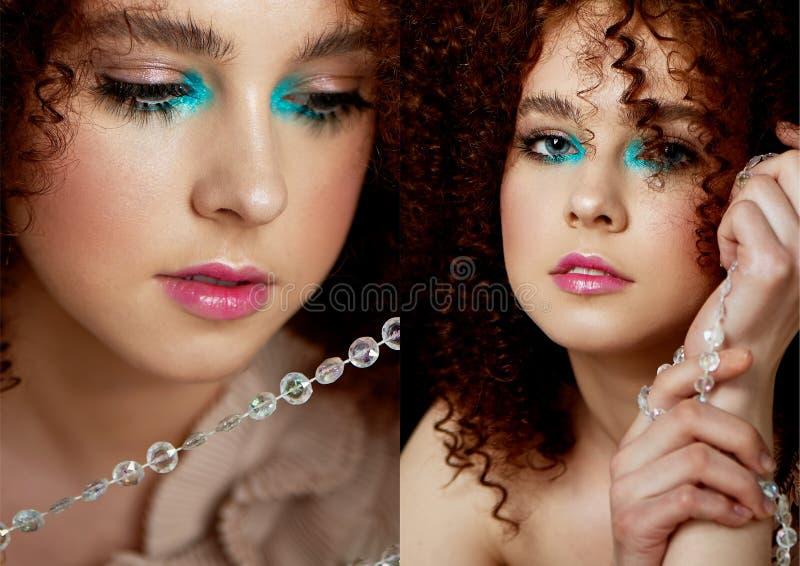Девушка с сочными курчавыми красными волосами Чувствительный макияж с ложными ресницами в стиле куклы На шариках вычерченного пот стоковые изображения