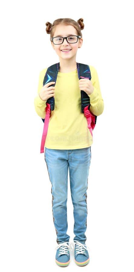 Девушка школы студента девушки ребенка полнометражная изолировала стоковые фото