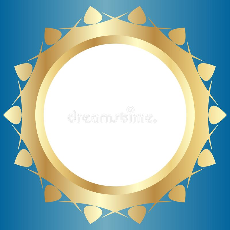 Декоративная золотая рамка с абстрактным флористическим дизайном на светлом - голубая предпосылка Круглый состав картины иллюстрация штока