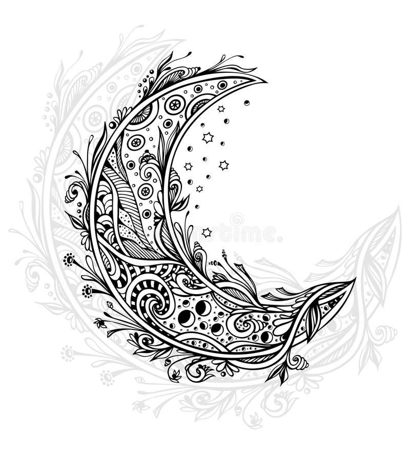 Декоративная луна или серповидное черным по белому иллюстрация штока