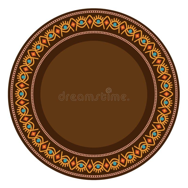 Декоративная плита с круглым орнаментом в этническом племенном стиле символов также вектор иллюстрации притяжки corel иллюстрация штока
