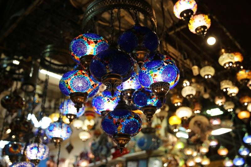 Декоративные лампы в гранд-базаре Ä°stanbul стоковые фотографии rf