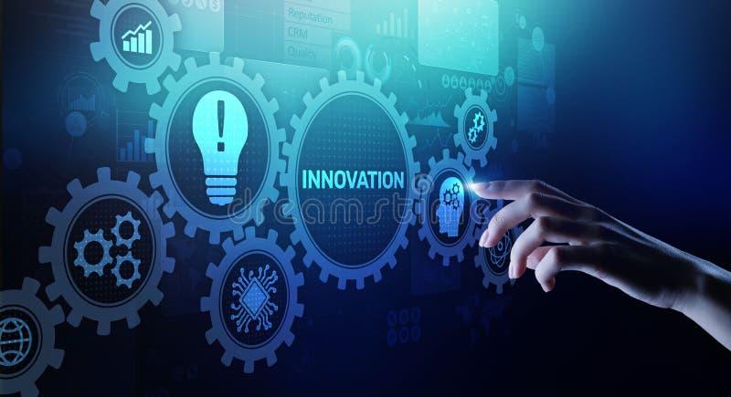 Дело нововведения и концепция технологии на виртуальном экране Innovate творческий процесс иллюстрация штока