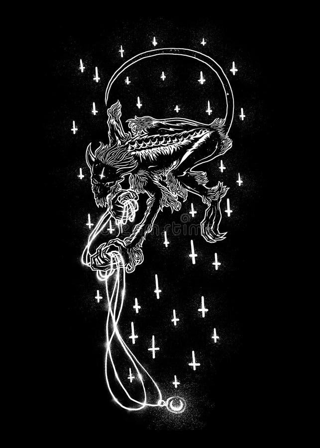 Демон иллюстрации искусства дизайна смерти иллюстрация штока