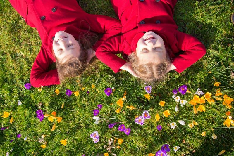 День весны солнечный, первые цветки и счастливые дети стоковое изображение rf